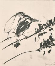 "After Brett Whiteley (1931-1992) Australian, A print of two birds on a branch, 11.75"" x 10""."