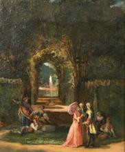 "Attributed to Jean Carolus (1814-1897) Belgian, Elegant figures in a formal garden, oil on panel, signed, 12"""