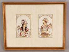 A PAIR OF FINE QUALITY 19TH CENTURY FRAMED INDIAN RECTANGULAR PAINTINGS ON IVORY OF A MAHARAJA & MAHARINI, the frame 10.1in x 7.8in, the paintings themselves 3.8in x 2.3in.