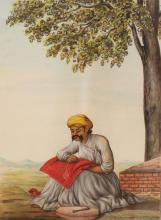 A FINE QUALITY 19TH CENTURY FRAMED INDIAN PAINTING ON PAPER, portraying a seated man embroidering fabric beneath an overhanging tree, the frame 12.1in x 10in, the visible part of the painting itself 6.75in x 5.1in.