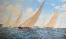 John Steven Dews (1949-    ) British. Racing J Class Yacht's, Lithograph, Signed and numbered 531/850 in Pencil, with Printers Guild Stamp, 19