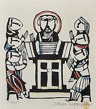 Sadao Watanabe (1913-1996) Japanese. 'Christ', Woodcut in Colours, Signed and Dated 1965 in Pencil, 8