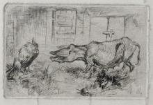 19th Century English School. A Pig and a Cockerel in a farm Scene, Etching, 3