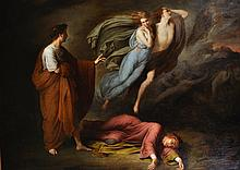 Ary Scheffer (1795-1858) Dutch. 'Dante and Virgil meet with Francesca da Rimini and Paolo Matalesta', Circa 1835, Oil on Canvas, 29
