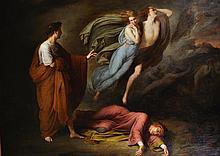 Ary Scheffer (1795-1858) Dutch. 'Dante and Virgil meet with Francesca da Rimini and Paolo Matalesta', Circa 1835, Oil on Canvas, 29