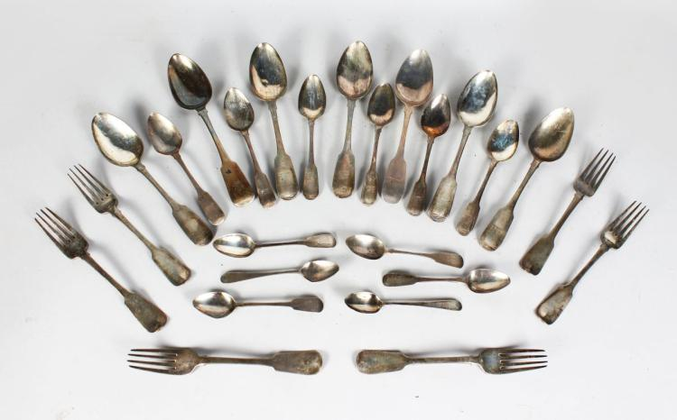 A COMPOSITE SET OF IRISH VICTORIAN FIDDLE PATTERN CUTLERY. Various dates. Weight 40ozs.