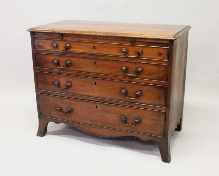 A GEORGE III MAHOGANY BATCHELORS CHEST, with moulded rectangular top, a brushing slide, over four graduated long drawers, with brass swan neck handles, supported on splay bracket feet. 3ft 1ins wide x 2ft 6ins high x 1ft 8ins deep.