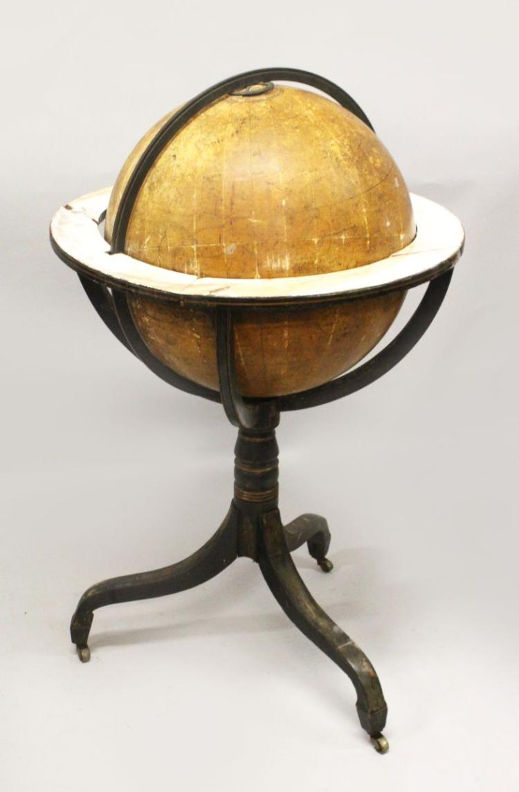 A 19TH CENTURY CARY'S CELESTIAL GLOBE ON STAND, for restoration. Globe: 20ins diameter.
