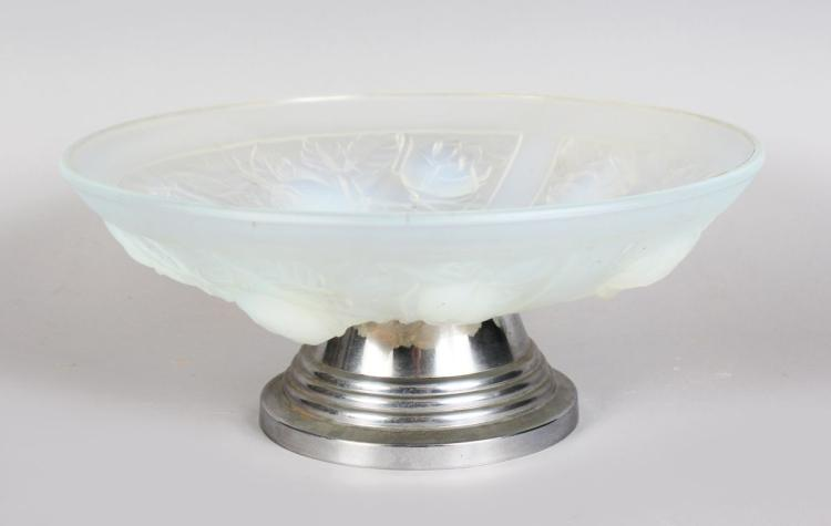A JULIEN OPALESCENT CIRCULAR GLASS COMPORT, with four panels of roses on a chrome pedestal base. 11ins diameter.