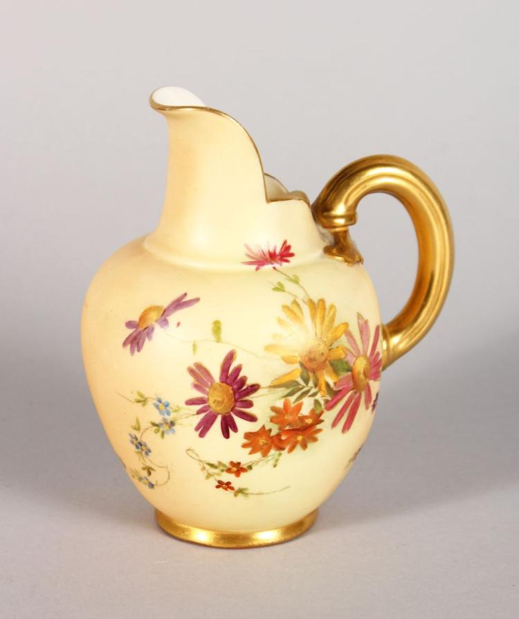 A ROYAL WORCESTER JUG, painted with flowers, Pattern No: 1094 5in high