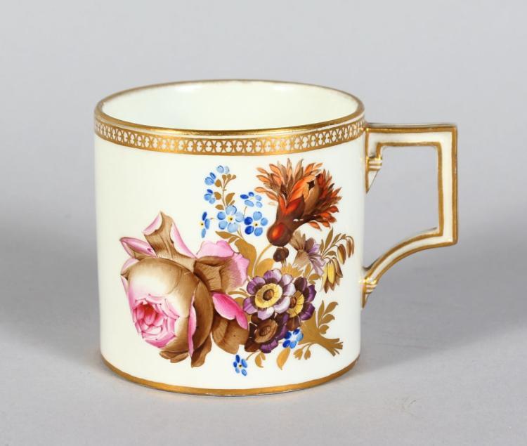 A GOOD MEISSEN COFFEE CAN, white ground and edged in gilt and painted with flowers, crossed swords marked based.