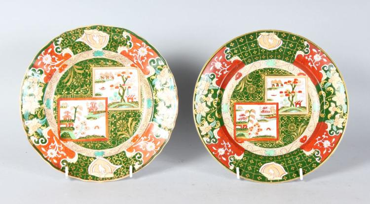 A PAIR OF ASHWORTH REAL IRONSTONE JAPANNED PLATES. 8.5ins diameter.