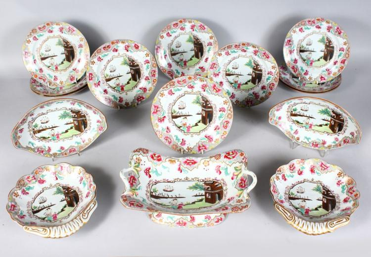 A SPODE COPELAND IRONSTONE CHINESE PATTERN SERVICE, comprising two oval dishes, two shell dishes, comport and tea plates, each piece painted with Chinese figures and a frigate.
