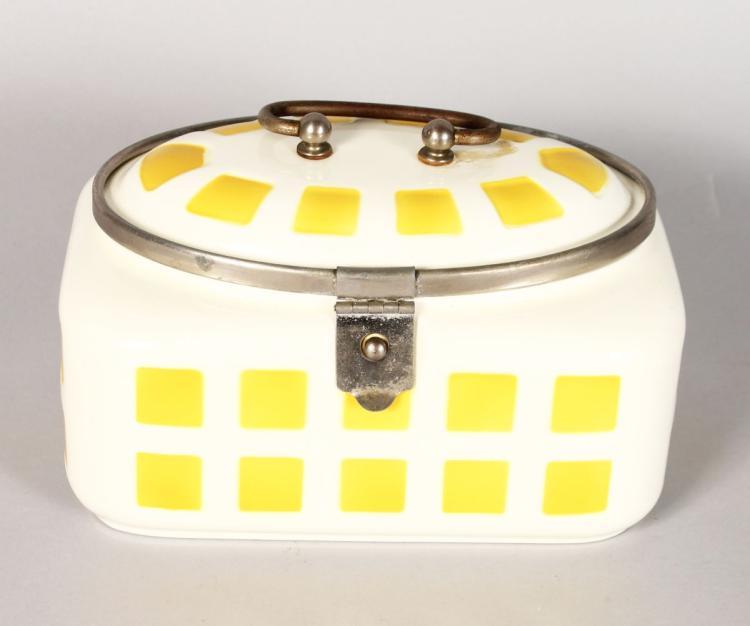 AN ART DECO DESIGN PORCELAIN SANDWICH BOX, yellow squares. 7ins long.
