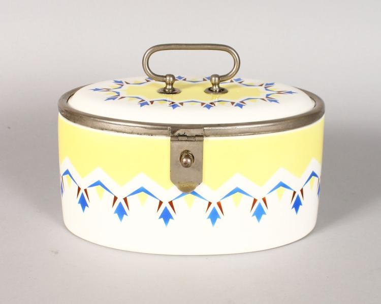 AN ART DECO DESIGN PORCELAIN SANDWICH BOX, yellow and blue. 8ins long.