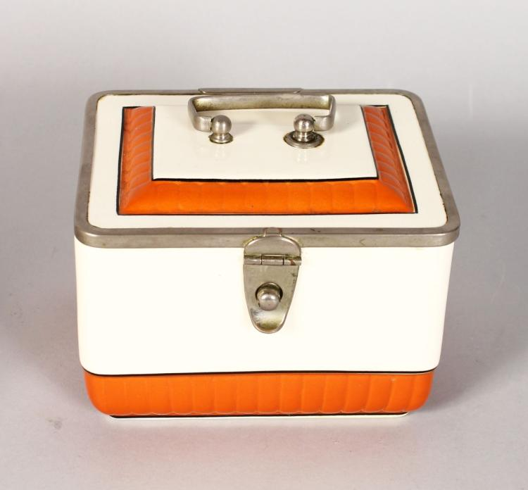 AN ART DECO DESIGN PORCELAIN SANDWICH BOX, orange band. 5.5ins long.