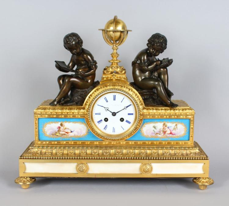 A VERY GOOD 19TH CENTURY FRENCH ORMOLU AND SEVRES MANTLE CLOCK, with eight-day movement, blue and white Roman numerals, the case with two painted Sevres porcelain panels, surmounted by a globe and two bronze cupids. 15ins high x 17ins wide.
