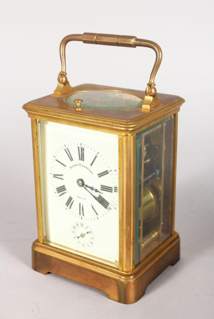 A GOOD FRENCH BRASS CARRIAGE CLOCK, striking on a gong, with enamel dial, signed Robert Pleissner, Dresden, movement numbered: 5619, in a leather carrying case. Clock 5.25ins high.