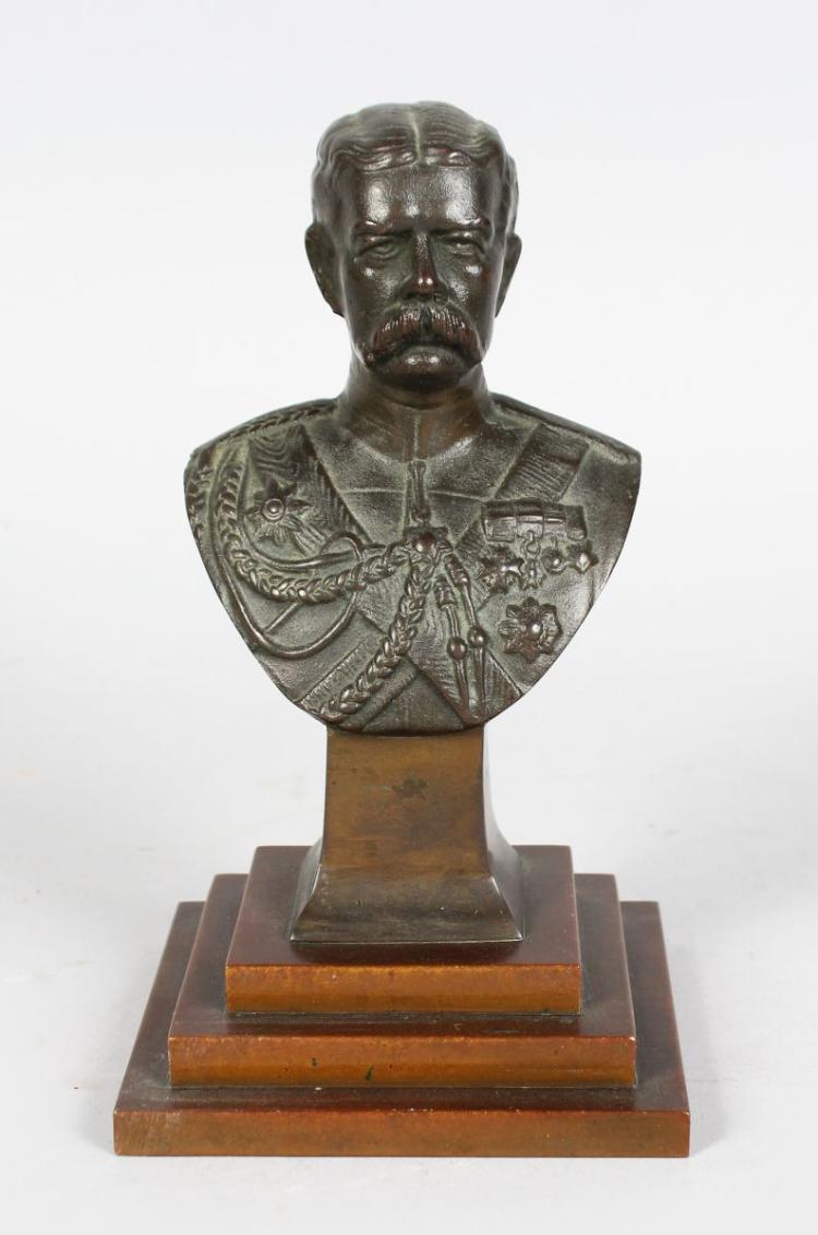 W. G. LAWTON (SCULPT.) A BRONZE BUST OF LORD KITCHENER. 7ins high.