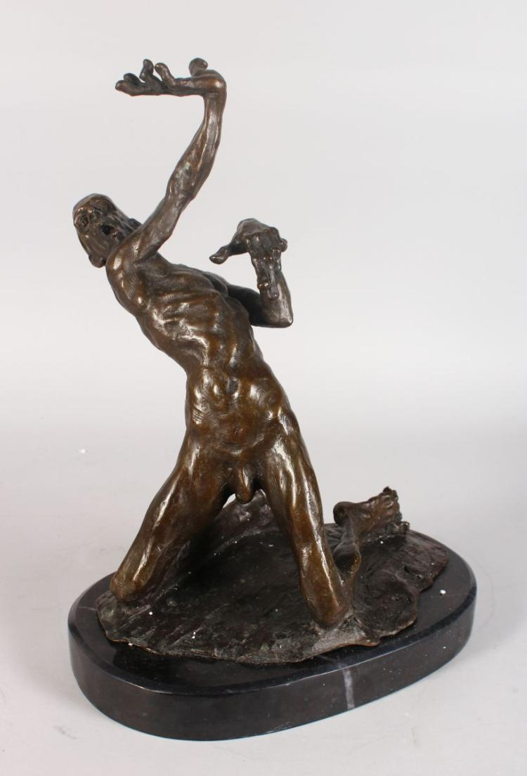 AN UNUSUAL ABSTRACT BRONZE OF A NAKED MALE FIGURE, in a contorted pose, on an oval marble base. 1ft 6ins high.