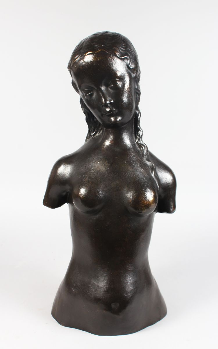 AFTER HENRI MATISSE (1869-1954) FRENCH A BRONZE FEMALE TORSO, signed MATISSE, with foundry stamp. 1ft 11ins high.