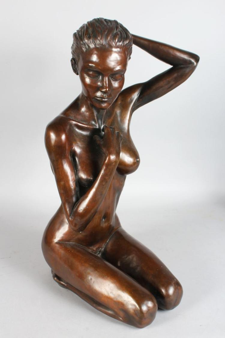 LIVINGSTONE A BRONZE KNEELING FEMALE NUDE, limited edition 1/17. 22ins high.