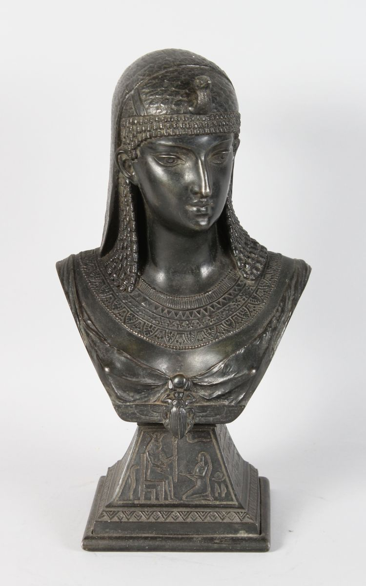 ANATOLE-JEAN GUILLOT (1865-1911) FRENCH. A SPELTER BUST OF CLEOPATRA. Signed and dated 1876. 15ins high.
