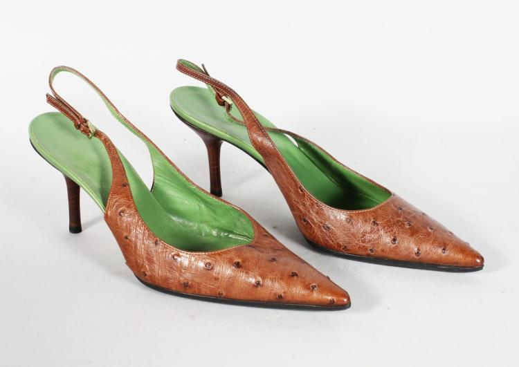 A PAIR OF GUCCI CROCODILE STILETTO SHOES. Size 38C (worn several times).