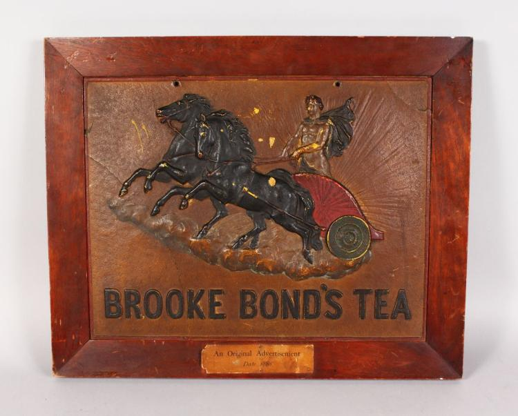 AN ORIGINAL ADVERTISEMENT, DATE 1880, for BROOKE BOND TEA, framed, the letters on reverse glazed. 12ins x 16ins. See label and letter on reverse. Lent by Mrs Musgrave to BROOKE BOND in 1921.