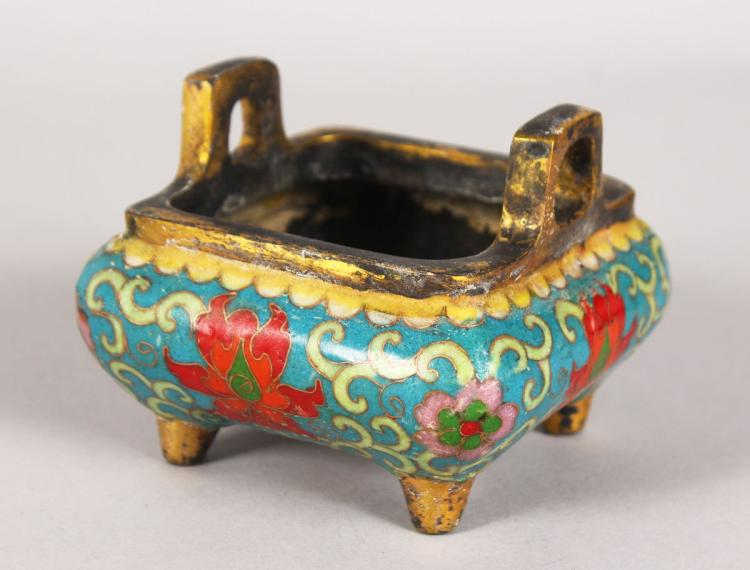 A CHINESE CLOISONNE ENAMEL TWO-HANDLED CENSER. 4ins square.