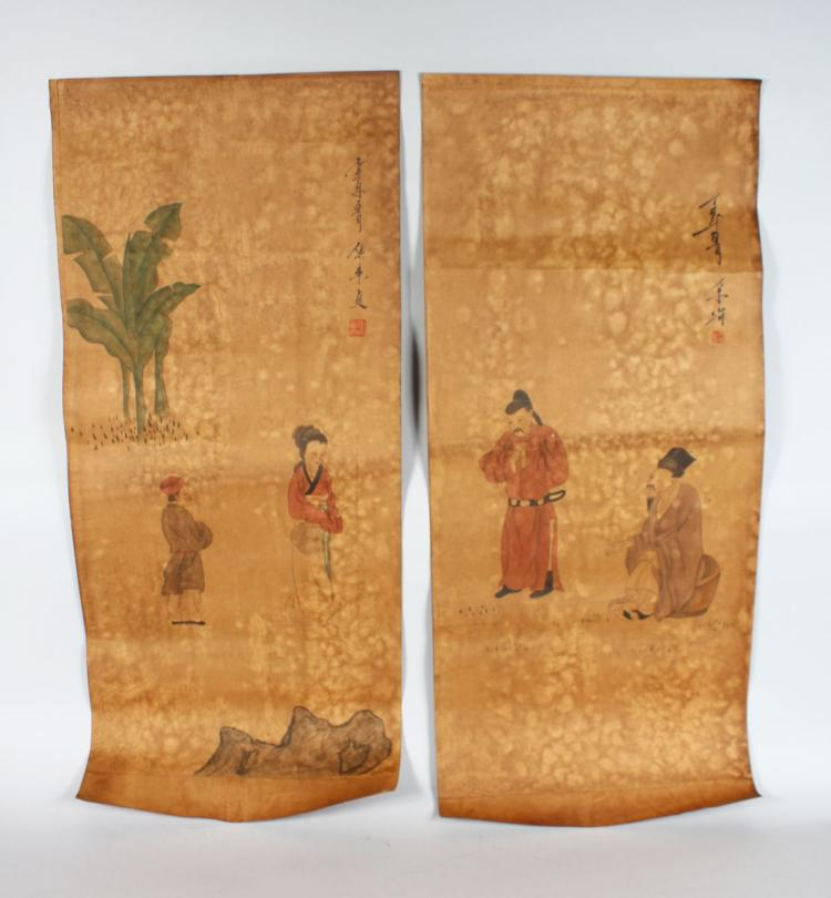 TWO CHINESE SCROLL PICTURES, decorated with figures. 3ft 3ins long.