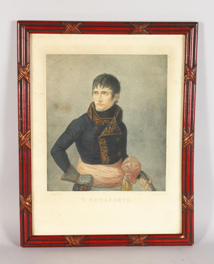 A LARGE COLOURED ENGRAVING OF NAPOLEON BONAPART, A Appiani pinx, F Bartolozzi, Image 13ins x 11ins, framed and glazed.