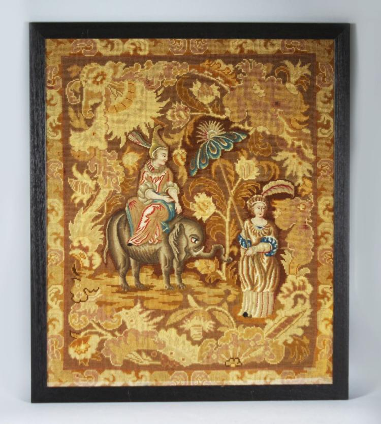 A PAIR OF 19TH CENTURY PETIT POINT NEEDLEWORK PICTURES, one depicting a woman on an elephant with attendant, the other with a wine vendor, framed and glazed. 2ft 8ins high x 2ft 3ins wide.