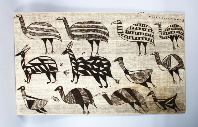 A 20TH CENTURY AFRICAN WOVEN FABRIC PICTURE, depicting three rows of animals and birds. 4ft 4ins long x 2ft 7ins high.