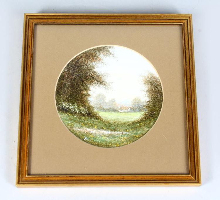 JOHN ABDEY (born 1923). A CIRCULAR LANDSCAPE. Monogrammed. Framed and glazed. 5ins diameter.