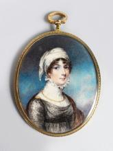 A GOOD OVAL PORTRAIT OF A LADY, wearing a white head scarf, large lace collar, a gold chain and black lace dress, signed on the sleeve, the signature ending with a capital N, in an oval gilt mount. <br>7.5cm x 5cm.