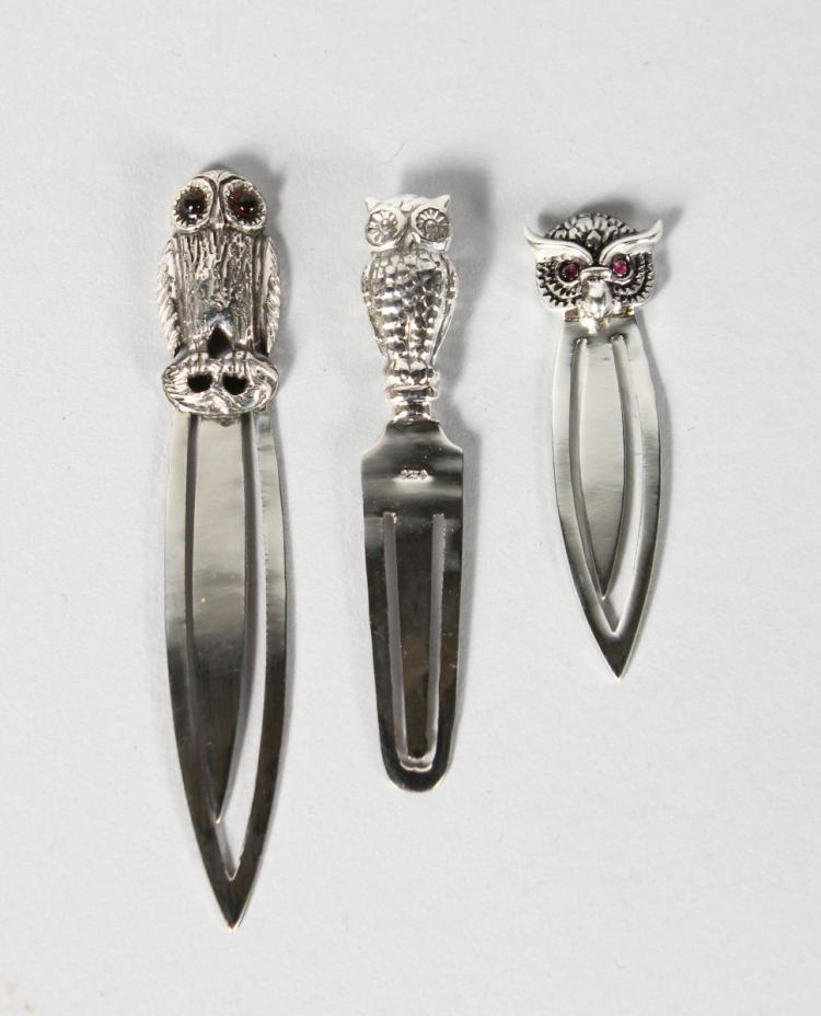TWO NOVELTY SILVER OWL BOOK MARKERS.