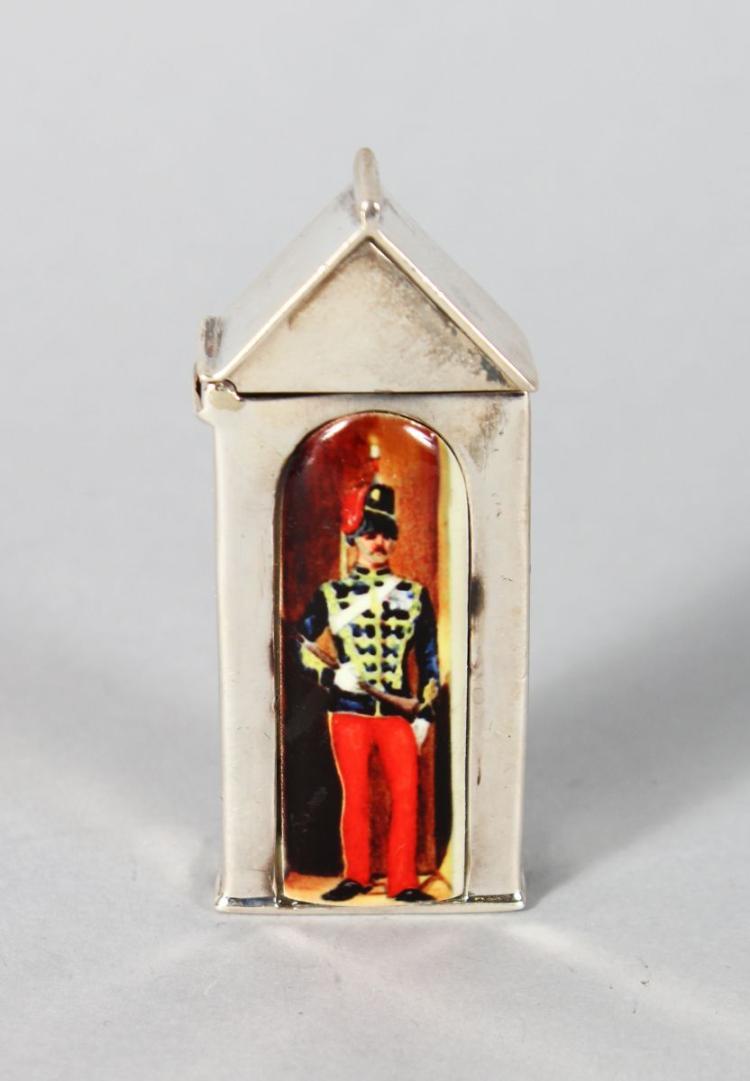 A NOVELTY SILVER SENTRY BOX VESTA CASE.