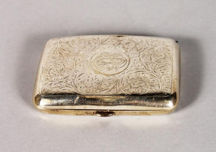AN ENGRAVED CIGARETTE CASE. Birmingham 1917. Presented by CAPTAIN GOODSIR to PRIVATE S. E. H. FOYLE, Surrey R.A.S.C. NT.