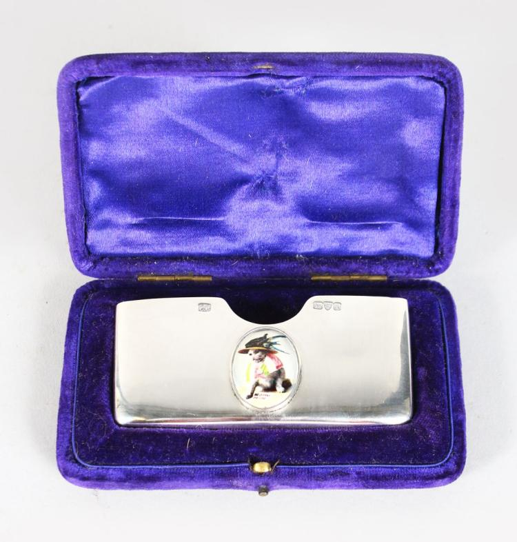 A SILVER CARD CASE, Chester 1901, the lid with a cat.