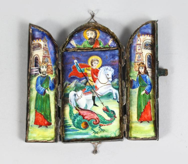 A RUSSIAN TRAVELLING SILVER TRIPTYCH, dated 1889, plain silver case, 9.5cms, 10cms wide open, depicting St George slaying the dragon in coloured enamels, a King and Queen on either side.