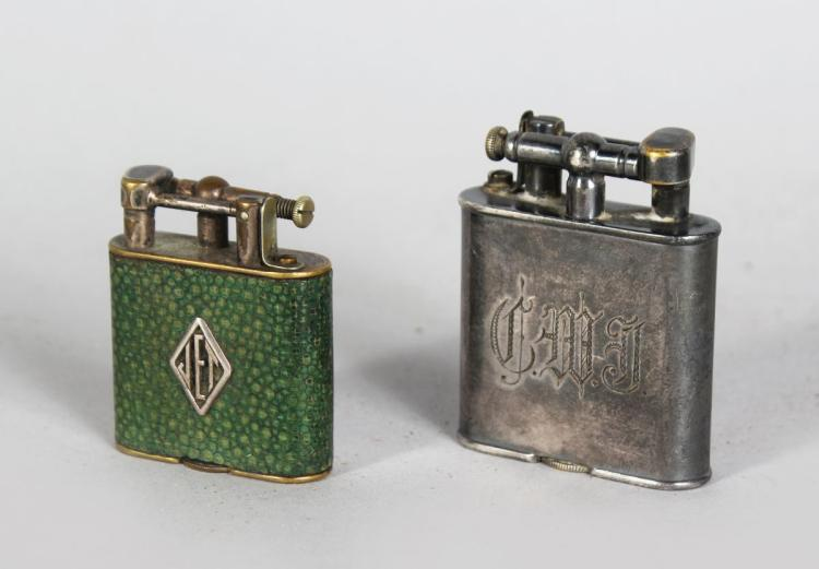 TWO DUNHILL LIGHTERS, one with shagreen cover.