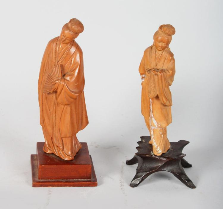 TWO CHINESE REPUBLIC CARVED BOXWOOD FIGURES. 6ins high.