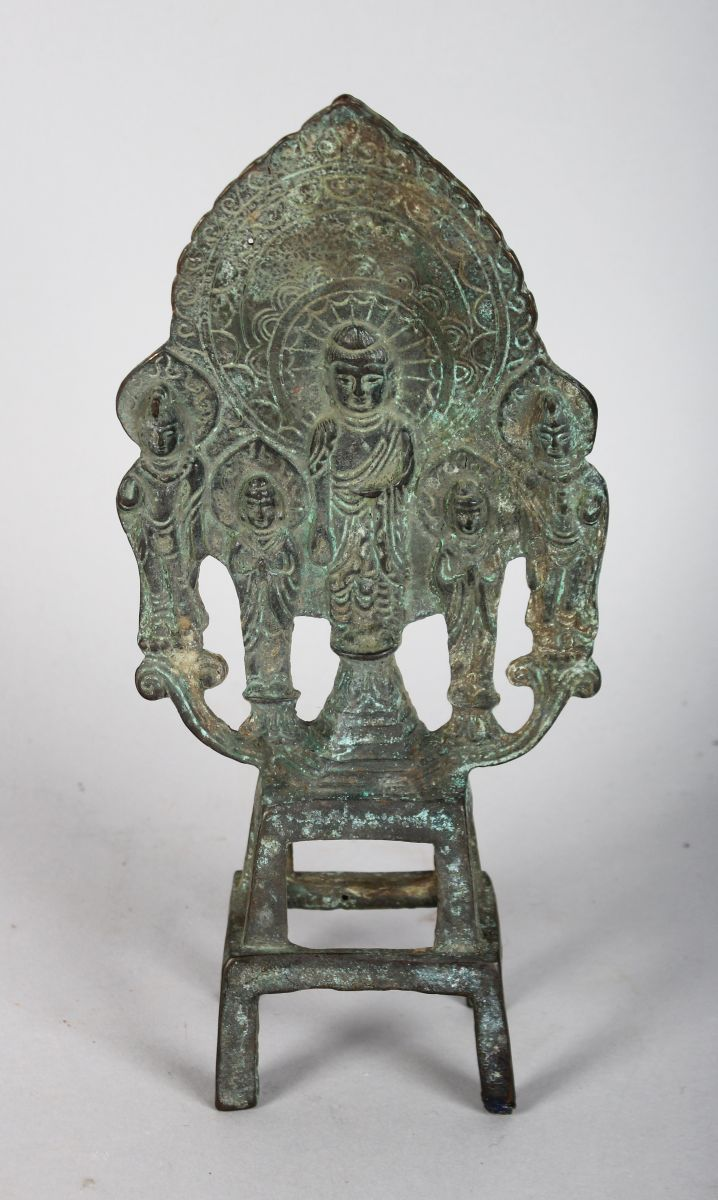 A CHINESE BRONZE SHRINE. 8ins high.