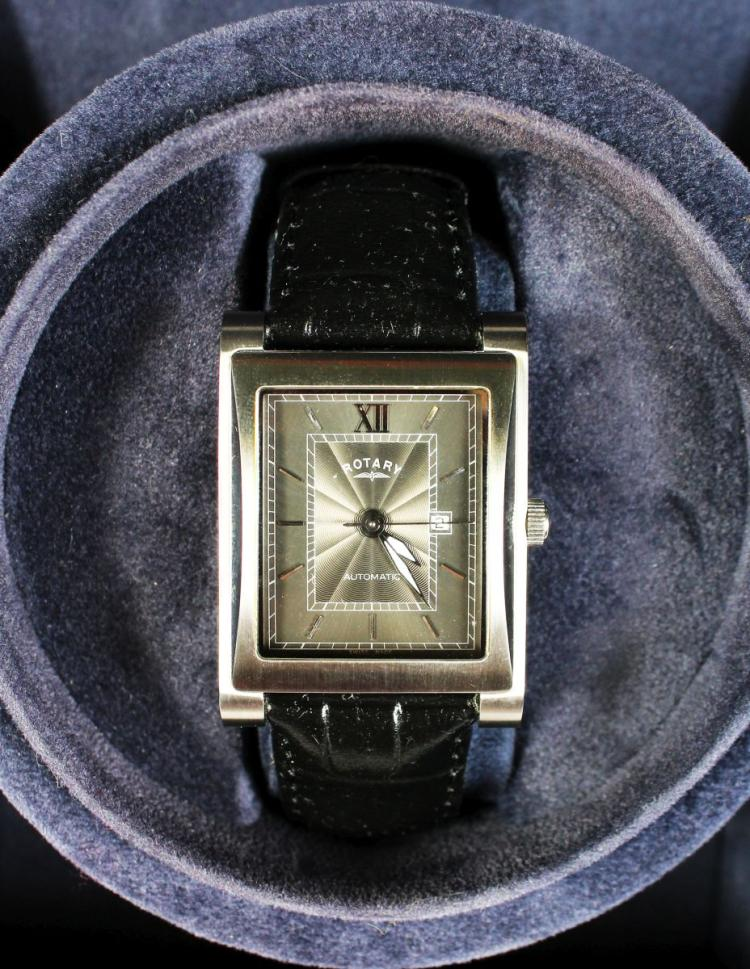 A ROTARY ELITE LIMITED EDITION SQUARE FACE WATCH, 184/500, automatic, in a presentation box.