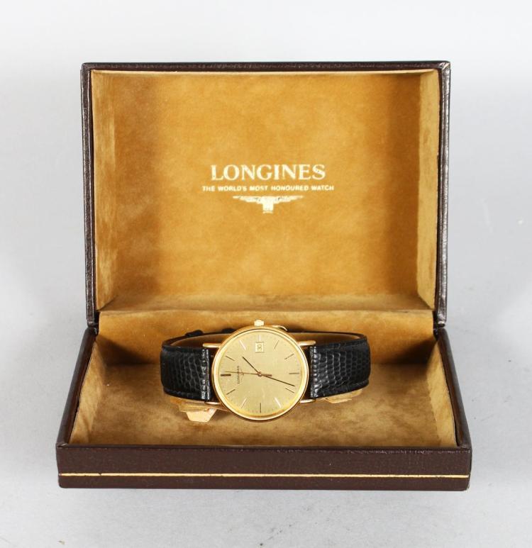 A LONGINES QUARTZ WATCH in a presentation box.