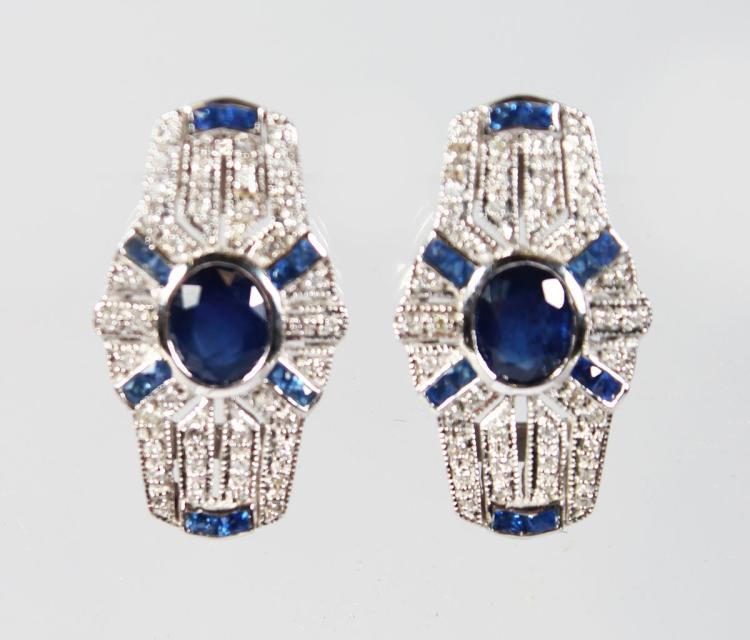 A PAIR OF 9CT GOLD, SAPPHIRE AND DIAMOND DECO EARRINGS.