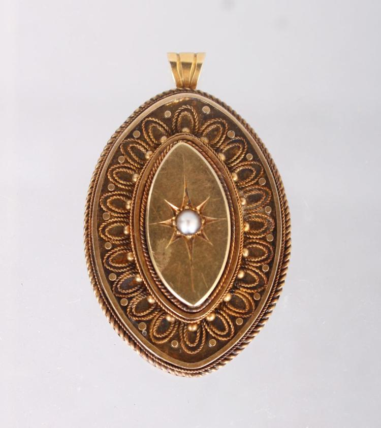 A VICTORIAN 15CT GOLD AND PEARL OVAL LOCKET.