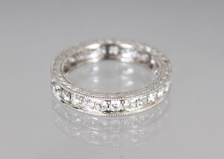AN 18CT WHITE GOLD FULL DIAMOND ETERNITY RING of 1.2cts, size K.