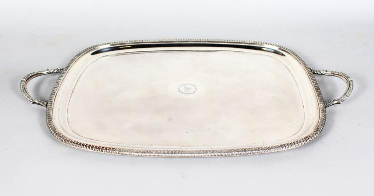 AN OLD SHEFFIELD PLATE TWO HANDLED RECTANGULAR TEA TRAY, with gadrooned edge,